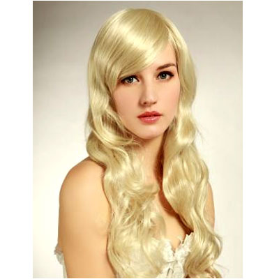 Perruque cheveux long blond platine
